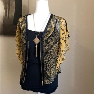 Bebe paisley and leopard print Kimono